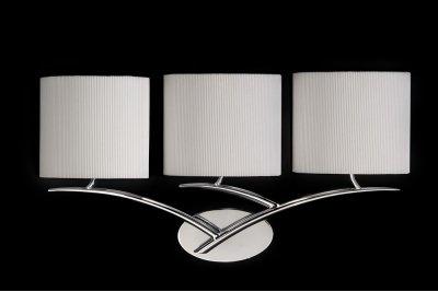 Люстра Mantra 1136 EVEсовременные бра модерн<br><br><br>S освещ. до, м2: 4<br>Тип лампы: накаливания / энергосбережения / LED-светодиодная<br>Тип цоколя: E27<br>Цвет арматуры: серебристый хром<br>Количество ламп: 3<br>Ширина, мм: 140<br>Размеры: W 600 H 315 Выступ<br>Длина, мм: 600<br>Высота, мм: 310<br>Оттенок (цвет): кремовый<br>MAX мощность ламп, Вт: 20