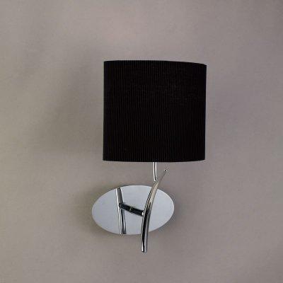 Светильник Mantra 1174 EVEСовременные<br><br><br>S освещ. до, м2: 1<br>Тип лампы: накаливания / энергосбережения / LED-светодиодная<br>Тип цоколя: E27<br>Цвет арматуры: серебристый хром<br>Количество ламп: 1<br>Ширина, мм: 140<br>Размеры: W 185 H 335 Выступ<br>Длина, мм: 180<br>Высота, мм: 340<br>Оттенок (цвет): черный<br>MAX мощность ламп, Вт: 20