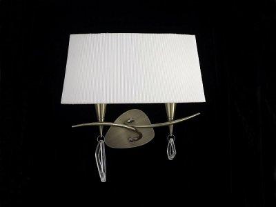Светильник Mantra 1628 MARAсовременные бра модерн<br><br><br>S освещ. до, м2: 2<br>Тип лампы: накаливания / энергосбережения / LED-светодиодная<br>Тип цоколя: E14<br>Цвет арматуры: бронзовый античный<br>Количество ламп: 2<br>Ширина, мм: 220<br>Размеры: W 380  H 310  Выступ 220<br>Длина, мм: 380<br>Высота, мм: 310<br>MAX мощность ламп, Вт: 20