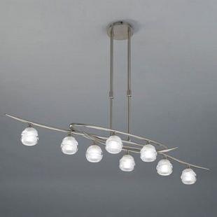 Люстра Mantra 1810 LOOPснятые с производства светильники<br><br><br>Тип лампы: галогенная<br>Тип цоколя: G9<br>Цвет арматуры: серебристый никель<br>Количество ламп: 8<br>Ширина, мм: 240<br>Размеры: L 1000  W 240  H  470-700<br>Длина, мм: 1000<br>Высота, мм: 470 - 700<br>MAX мощность ламп, Вт: 33W