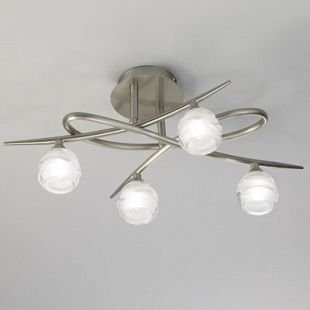 Люстра Mantra 1813 LOOPснятые с производства светильники<br><br><br>Тип лампы: галогенная<br>Тип цоколя: G9<br>Цвет арматуры: серебристый никель<br>Количество ламп: 4<br>Ширина, мм: 335<br>Размеры: L 520  W 335  H 220<br>Длина, мм: 520<br>Высота, мм: 220<br>MAX мощность ламп, Вт: 33W