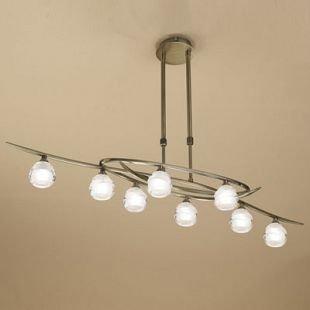 Люстра Mantra 1820 LOOPснятые с производства светильники<br><br><br>Тип лампы: галогенная<br>Тип цоколя: G9<br>Цвет арматуры: бронзовый античный<br>Количество ламп: 8<br>Ширина, мм: 240<br>Размеры: L 1000  W 240  H  470-700<br>Длина, мм: 1000<br>Высота, мм: 470 - 700<br>MAX мощность ламп, Вт: 33W