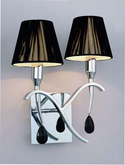 Светильник Mantra 348 VIENAСовременные<br><br><br>S освещ. до, м2: 5<br>Тип лампы: накаливания / энергосбережения / LED-светодиодная<br>Тип цоколя: E14<br>Цвет арматуры: серебристый хром<br>Количество ламп: 2<br>Ширина, мм: 300<br>Размеры: W 300 H 340<br>Длина, мм: 180<br>Высота, мм: 340<br>Оттенок (цвет): черный<br>MAX мощность ламп, Вт: 40