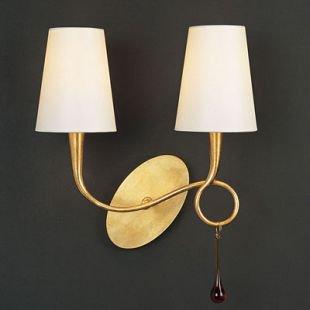 Светильник Mantra 3547 PAOLAсовременные бра модерн<br><br><br>S освещ. до, м2: 5<br>Тип лампы: накаливания / энергосбережения / LED-светодиодная<br>Тип цоколя: E14<br>Цвет арматуры: золотой<br>Количество ламп: 2<br>Ширина, мм: 210<br>Размеры: W 320  H 340  Выступ 210<br>Длина, мм: 320<br>Высота, мм: 340<br>MAX мощность ламп, Вт: 40