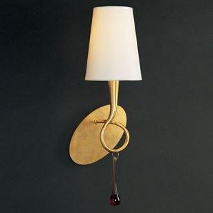 Светильник Mantra 3548 PAOLAСовременные<br><br><br>S освещ. до, м2: 2<br>Тип лампы: накаливания / энергосбережения / LED-светодиодная<br>Тип цоколя: E14<br>Цвет арматуры: золотой<br>Количество ламп: 1<br>Ширина, мм: 150<br>Размеры: W 145  H 380  Выступ 150<br>Длина, мм: 145<br>Высота, мм: 380<br>MAX мощность ламп, Вт: 40