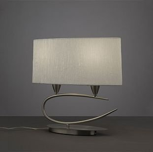 Светильник Mantra 3683 LuaСовременные настольные лампы модерн<br>Настольная лампа – это не просто источник дополнительного освещения, но и оригинальный элемент декора. Его можно установить в спальне, гостиной, кабинете и других комнатах. Интернет-магазин «Светодом» предлагает настольные лампы разных стилей по доступным ценам. Благодаря большому ассортименту Вы обязательно найдете в нашем каталоге именно ту модель, которую искали.   Настольная лампа Mantra 3683 – прекрасный вариант для завершения интерьера. Ее можно включить одновременно с люстрой для более яркого освещения или без нее для создания уютной атмосферы, настраивающей на отдых.   Купить настольную лампу Mantra 3683 Вы можете с помощью виртуальной «Корзины» или по контактным номерам, указанным на сайте.<br><br>S освещ. до, м2: 1<br>Тип лампы: накаливания / энергосбережения / LED-светодиодная<br>Тип цоколя: E27<br>Цвет арматуры: серый<br>Количество ламп: 2<br>Ширина, мм: 180<br>Размеры: L 400 W 180 H 373<br>Длина, мм: 400<br>Высота, мм: 373<br>Оттенок (цвет): черный<br>MAX мощность ламп, Вт: 13
