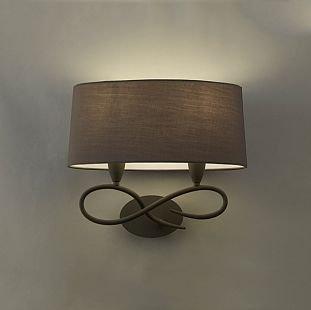 Светильник Mantra 3687 Luaсовременные бра модерн<br><br><br>S освещ. до, м2: 1<br>Тип лампы: накаливания / энергосбережения / LED-светодиодная<br>Тип цоколя: E27<br>Цвет арматуры: серый<br>Количество ламп: 2<br>Ширина, мм: 212<br>Размеры: L 400 W 212 H 355<br>Длина, мм: 400<br>Высота, мм: 355<br>Оттенок (цвет): черный<br>MAX мощность ламп, Вт: 13
