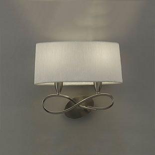 Светильник Mantra 3707 Luaсовременные бра модерн<br><br><br>S освещ. до, м2: 1<br>Тип лампы: накаливания / энергосбережения / LED-светодиодная<br>Тип цоколя: E27<br>Цвет арматуры: серебристый никель<br>Количество ламп: 2<br>Ширина, мм: 212<br>Размеры: L 400 W 212 H 355<br>Длина, мм: 400<br>Высота, мм: 355<br>Оттенок (цвет): белый<br>MAX мощность ламп, Вт: 13