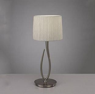 Светильник Mantra 3708 LuaСовременные настольные лампы модерн<br>Настольная лампа – это не просто источник дополнительного освещения, но и оригинальный элемент декора. Его можно установить в спальне, гостиной, кабинете и других комнатах. Интернет-магазин «Светодом» предлагает настольные лампы разных стилей по доступным ценам. Благодаря большому ассортименту Вы обязательно найдете в нашем каталоге именно ту модель, которую искали.   Настольная лампа Mantra 3708 – прекрасный вариант для завершения интерьера. Ее можно включить одновременно с люстрой для более яркого освещения или без нее для создания уютной атмосферы, настраивающей на отдых.   Купить настольную лампу Mantra 3708 Вы можете с помощью виртуальной «Корзины» или по контактным номерам, указанным на сайте.<br><br>Тип лампы: накаливания / энергосбережения / LED-светодиодная<br>Тип цоколя: E27<br>Цвет арматуры: серебристый никель<br>Количество ламп: 1<br>Диаметр, мм мм: 250<br>Размеры: D 250 H 617<br>Высота, мм: 617<br>Оттенок (цвет): белый<br>MAX мощность ламп, Вт: 13