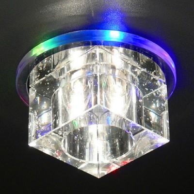 N4/S MULTI (мульти) Электростандарт Квадратный светодиодный встраиваемый светильник для натяжных потолковКвадратные LED<br>В прозрачном основании светильника расположена плавно переливающаяся всеми цветами светодиодная подсветка. Плафон светильника выполнен в виде стеклянного куба. Светильник подходит для монтажа в натяжные, реечные, гипсокартонные потолки. Светодиодная подсветка может быть подключена отдельно от галогенной лампы. Лампа: G4 max 50 Вт + LED Мощность LED подсветки: 1 Вт Диаметр: ? 110 мм Высота внутренней части: ? 28 мм Высота внешней части: ? 58 мм Монтажное отверстие: ? 45 мм Гарантия: 2 года<br><br>S освещ. до, м2: 2<br>Тип лампы: галогенная<br>Тип цоколя: G4<br>Диаметр, мм мм: 113<br>Диаметр врезного отверстия, мм: 65<br>Оттенок (цвет): разноцветный<br>MAX мощность ламп, Вт: 20