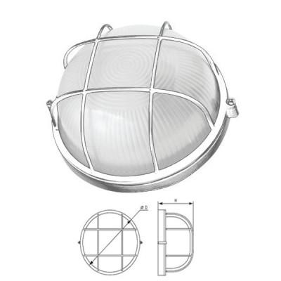 Светильник Navigator 94 807 белый с решеткойДля подъездов и саун<br>Влагозащищенные светильники типа NBL-R круглой формы предназначены для использования с лампами накаливания со стандартным цоколем Е27 и поставляются в двух типоразмерах – для ламп максимальной мощностью 60 Вт и 100 Вт и степенью защиты от воздействия окружающей среды IP54.<br><br>Тип лампы: накал-я - энергосб-я<br>Тип цоколя: E27<br>MAX мощность ламп, Вт: 100W<br>Диаметр, мм мм: 235<br>Расстояние от стены, мм: 110