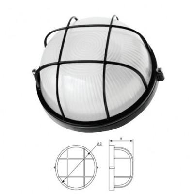Светильник Navigator 94 809 черный с решеткойСветильники НПП<br>Влагозащищенные светильники типа NBL-R круглой формы предназначены для использования с лампами накаливания со стандартным цоколем Е27 и поставляются в двух типоразмерах – для ламп максимальной мощностью 60 Вт и 100 Вт и степенью защиты от воздействия окружающей среды IP54.<br><br>Тип лампы: накал-я - энергосб-я<br>Тип цоколя: E27<br>Диаметр, мм мм: 235<br>Расстояние от стены, мм: 110<br>MAX мощность ламп, Вт: 100W