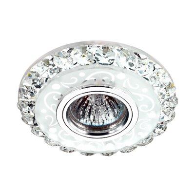 Novotech RIVA 357311 Светильник встраиваемыйКруглые<br>Встраиваемый светильник со светодиодной подсветкой и встроенным драйвером модели Novotech 357311 из серии RIVA отличается следующим качеством: Декоративное украшение произведено из хрусталя. Хрусталь обладает высоким показателем плотности, прозрачности и блеска. Благодаря содержанию свинца (не менее 30%). Хрусталь обладает высоким показателем плотности, прозрачности и блеска. Благодаря содержанию свинца (не менее 30%) и определённому подбору углов, образуемых гранями, изделия из хрусталя отличаются необыкновенно яркой, многоцветной игрой света, чарующей магией красоты, совершенства и роскоши. Имееется возможность раздельного включения LED и лампы, при использовании двухклавишного выключателя света.<br><br>Тип лампы: галогенная/LED<br>Тип цоколя: gu5.3<br>Диаметр, мм мм: 120<br>Диаметр врезного отверстия, мм: 60<br>Высота, мм: 35<br>MAX мощность ламп, Вт: 50