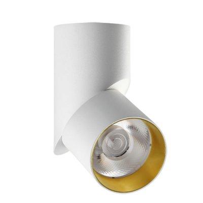 Накладной светильник Novotech 357540 UNIONОдиночные<br><br><br>Цветовая t, К: 3000K<br>MAX мощность ламп, Вт: CXA-1816 1*23W 560mA<br>Диаметр, мм мм: ?80<br>Высота, мм: 207<br>Оттенок (цвет): белый/золото