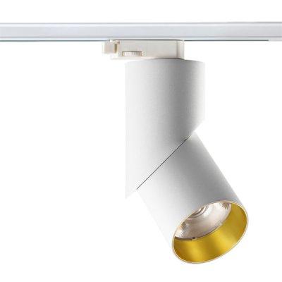 Трековый светильник Novotech 357541 UNIONОдиночные<br><br><br>S освещ. до, м2: 10<br>Цветовая t, К: 3000K<br>Диаметр, мм мм: ?80<br>Высота, мм: 207<br>Оттенок (цвет): белый/золото<br>MAX мощность ламп, Вт: CXA-1816 1*23W 560mA