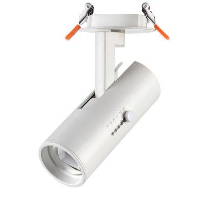 Встраиваемый светильник Novotech 357545 BLADEВстраиваемые светильники направленного света<br><br><br>Цветовая t, К: 3000K<br>Диаметр, мм мм: 85<br>Диаметр врезного отверстия, мм: 75<br>Высота, мм: 170<br>Оттенок (цвет): белый<br>MAX мощность ламп, Вт: COB 15W
