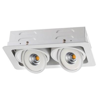 Ввстраиваемый светодиодный светильник Novotech 357578 GESSOКарданные<br><br><br>Цветовая t, К: 3000K<br>Ширина, мм: 120<br>MAX мощность ламп, Вт: COB 2*7W<br>Диаметр врезного отверстия, мм: 195*105<br>Оттенок (цвет): белый