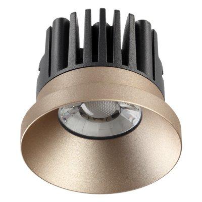 Ввстраиваемый светодиодный светильник Novotech 357588 METISКруглые<br><br><br>Цветовая t, К: 3000K<br>Диаметр, мм мм: 80<br>Диаметр врезного отверстия, мм: 70<br>Оттенок (цвет): шампань<br>MAX мощность ламп, Вт: COB 10W