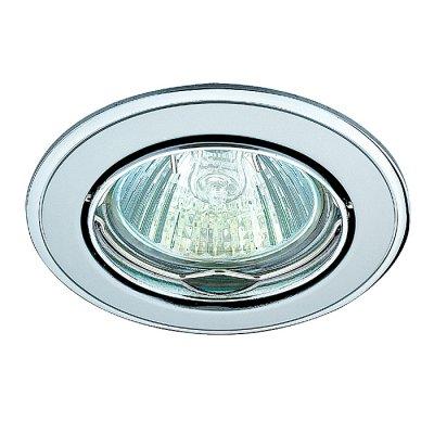 Novotech CROWN 369104 Точечный встраиваемый светильникТочечные светильники круглые<br>Стандартный встраиваемый поворотный светильник модели Novotech 369104 из серии CROWN отличается следующим качеством: Светильник сделан из алюминиевого литья. Это сплав, основными  достоинствами которого являются — устойчивость к практически всем видам негативного воздействия окружающей среды, коррозии, небольшой вес, по сравнению с другими видами металла и   экологическая безопасность материала.<br><br>S освещ. до, м2: 3<br>Тип лампы: галогенная<br>Тип цоколя: GU5.3 (MR16)<br>Цвет арматуры: серебристый<br>Количество ламп: 1<br>Диаметр, мм мм: 82<br>Диаметр врезного отверстия, мм: 75<br>Высота, мм: 27<br>MAX мощность ламп, Вт: 50