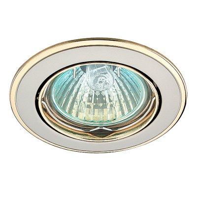 Novotech CROWN 369105 Точечный встраиваемый светильникКруглые<br>Стандартный встраиваемый поворотный светильник модели Novotech 369105 из серии CROWN отличается следующим качеством: Светильник сделан из алюминиевого литья. Это сплав, основными  достоинствами которого являются — устойчивость к практически всем видам негативного воздействия окружающей среды, коррозии, небольшой вес, по сравнению с другими видами металла и   экологическая безопасность материала.<br><br>S освещ. до, м2: 3<br>Тип лампы: галогенная<br>Тип цоколя: GU5.3 (MR16)<br>Количество ламп: 1<br>MAX мощность ламп, Вт: 50<br>Диаметр, мм мм: 82<br>Диаметр врезного отверстия, мм: 75<br>Высота, мм: 27<br>Оттенок (цвет): золото<br>Цвет арматуры: серебристый