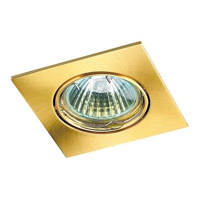 Novotech QUADRO 369107 Точечный встраиваемый светильникКвадратные<br>Встраиваемый поворотный светильник модели Novotech 369107 из серии QUADRO отличается следующим качеством: Светильник сделан из алюминиевого литья. Это сплав, основными  достоинствами которого являются — устойчивость к практически всем видам негативного воздействия окружающей среды, коррозии, небольшой вес, по сравнению с другими видами металла и экологическая безопасность материала.<br><br>S освещ. до, м2: 3<br>Тип лампы: галогенная<br>Тип цоколя: GU5.3 (MR16)<br>Количество ламп: 1<br>Ширина, мм: 82<br>MAX мощность ламп, Вт: 50<br>Диаметр врезного отверстия, мм: 75<br>Длина, мм: 82<br>Высота, мм: 27<br>Цвет арматуры: Золотой