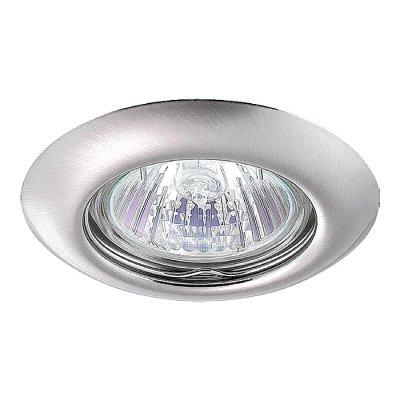 Novotech TOR 369115 Точечный встраиваемый светильникКруглые<br>Встраиваемый неповоротный светильник модели Novotech 369115 из серии TOR отличается следующим качеством: Светильник сделан из металла. Это популярный и востребованный материал благодаря ряду качеств. К ним относится: повышенная прочность, износостойкость и долговечность. Любому интерьеру он придаст солидности и завершенности, поможет расставить акценты.<br><br>S освещ. до, м2: 3<br>Тип лампы: галогенная<br>Тип цоколя: GU5.3 (MR16)<br>Количество ламп: 1<br>MAX мощность ламп, Вт: 50<br>Диаметр, мм мм: 80<br>Диаметр врезного отверстия, мм: 60<br>Высота, мм: 40<br>Цвет арматуры: серебристый