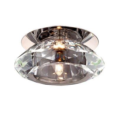 Novotech CRYSTAL 369374 Встраиваемый светильникКруглые<br>Декоративный встраиваемый светильник модели Novotech 369374 из серии CRYSTAL отличается следующим качеством: Основание светильника – алюминиевое литьё. Это сплав, основными  достоинствами которого являются — устойчивость к практически всем видам негативного воздействия окружающей среды, коррозии, небольшой вес, по сравнению с другими видами металла и   экологическая безопасность материала. Декоративные бусины сделаны из хрусталя. Он обладает высоким показателем плотности, прозрачности и блеска. Благодаря содержанию свинца (не менее 30%) и определённому подбору углов, образуемых гранями, изделия из хрусталя отличаются необыкновенно яркой, многоцветной игрой света, чарующей магией красоты, совершенства и роскоши.<br><br>S освещ. до, м2: 2<br>Тип лампы: галогенная<br>Тип цоколя: G4<br>Количество ламп: 1<br>MAX мощность ламп, Вт: 20<br>Диаметр, мм мм: 97<br>Диаметр врезного отверстия, мм: 50<br>Высота, мм: 65<br>Оттенок (цвет): прозрачный<br>Цвет арматуры: серебристый