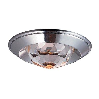 Novotech GLAM 369427 Встраиваемый светильникКруглые<br>Декоративный встраиваемый неповоротный светильник модели Novotech 369427 из серии GLAM отличается следующим качеством: Светильник сделан из алюминиевого литья. Это сплав, основными  достоинствами которого являются — устойчивость к практически всем видам негативного воздействия окружающей среды, коррозии, небольшой вес, по сравнению с другими видами металла и   экологическая безопасность материала. Декоративный плафон произведён из хрусталя. Он обладает высоким показателем плотности, прозрачности и блеска. Благодаря содержанию свинца (не менее 30%) и определённому подбору углов, образуемых гранями, изделия из хрусталя отличаются необыкновенно яркой, многоцветной игрой света, чарующей магией красоты, совершенства и роскоши.<br><br>S освещ. до, м2: 3<br>Тип лампы: галогенная<br>Тип цоколя: GU5.3 (MR16)<br>Количество ламп: 1<br>MAX мощность ламп, Вт: 50<br>Диаметр, мм мм: 80<br>Диаметр врезного отверстия, мм: 65<br>Высота, мм: 40<br>Цвет арматуры: серебристый