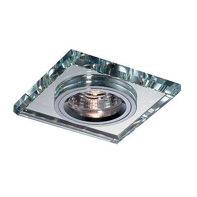 Novotech MIRROR 369435 Встраиваемый светильникКвадратные<br>Декоративный встраиваемый неповоротный светильник модели Novotech 369435 из серии MIRROR отличается следующим качеством: Основание светильника сделано из алюминия. Это лёгкий металл, основными  достоинствами которого являются — устойчивость к практически всем видам негативного воздействия окружающей среды, коррозии, небольшой вес, по сравнению с другими видами металла и   экологическая безопасность материала. Декоративное покрытие произведено из хрусталя. Хрусталь обладает высоким показателем плотности, прозрачности и блеска. Благодаря содержанию свинца (не менее 30%) и определённому подбору углов, образуемых гранями, изделия из хрусталя отличаются необыкновенно яркой, многоцветной игрой света, чарующей магией красоты, совершенства и роскоши.<br><br>S освещ. до, м2: 3<br>Тип лампы: галогенная<br>Тип цоколя: GU5.3 (MR16)<br>Количество ламп: 1<br>MAX мощность ламп, Вт: 50<br>Диаметр, мм мм: 90<br>Диаметр врезного отверстия, мм: 70<br>Высота, мм: 25<br>Оттенок (цвет): зеркальный<br>Цвет арматуры: серебристый