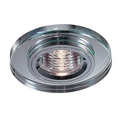 Novotech MIRROR 369436 Встраиваемый светильникКруглые<br>Декоративный встраиваемый неповоротный светильник модели Novotech 369436 из серии MIRROR отличается следующим качеством: Основание светильника сделано из алюминия. Это лёгкий металл, основными  достоинствами которого являются — устойчивость к практически всем видам негативного воздействия окружающей среды, коррозии, небольшой вес, по сравнению с другими видами металла и   экологическая безопасность материала. Декоративное покрытие произведено из хрусталя. Хрусталь обладает высоким показателем плотности, прозрачности и блеска. Благодаря содержанию свинца (не менее 30%) и определённому подбору углов, образуемых гранями, изделия из хрусталя отличаются необыкновенно яркой, многоцветной игрой света, чарующей магией красоты, совершенства и роскоши.<br><br>S освещ. до, м2: 3<br>Тип лампы: галогенная<br>Тип цоколя: GU5.3 (MR16)<br>Количество ламп: 1<br>MAX мощность ламп, Вт: 50<br>Диаметр, мм мм: 90<br>Диаметр врезного отверстия, мм: 70<br>Высота, мм: 25<br>Оттенок (цвет): зеркальный<br>Цвет арматуры: серебристый