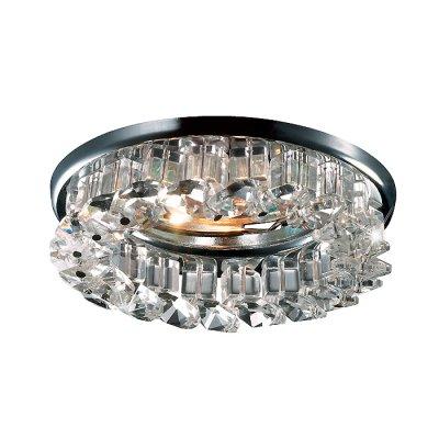 Novotech BOB 369452 Встраиваемый светильникВстраиваемые хрустальные светильники<br>Декоративный встраиваемый светильник модели Novotech 369452 из серии BOB отличается следующим качеством: Основание светильника – алюминиевое литьё. Это сплав, основными  достоинствами которого являются — устойчивость к практически всем видам негативного воздействия окружающей среды, коррозии, небольшой вес, по сравнению с другими видами металла и   экологическая безопасность материала. Декоративные бусины сделаны из хрусталя. Он обладает высоким показателем плотности, прозрачности и блеска. Благодаря содержанию свинца (не менее 30%) и определённому подбору углов, образуемых гранями, изделия из хрусталя отличаются необыкновенно яркой, многоцветной игрой света, чарующей магией красоты, совершенства и роскоши.<br><br>S освещ. до, м2: 2<br>Тип лампы: галогенная<br>Тип цоколя: GU5.3 (MR16)<br>Цвет арматуры: серебристый<br>Диаметр, мм мм: 82<br>Диаметр врезного отверстия, мм: 60<br>Высота, мм: 65<br>Оттенок (цвет): прозрачный<br>MAX мощность ламп, Вт: 50