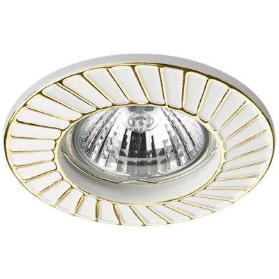 Встраиваемый светильник Novotech 370370 KEENМеталлические<br><br><br>Тип лампы: галогенная/LED - светодиодная<br>Тип цоколя: GX5.3<br>Цвет арматуры: белый/золотой<br>Количество ламп: 1<br>Диаметр, мм мм: 90<br>Диаметр врезного отверстия, мм: 60<br>Поверхность арматуры: матовая<br>Оттенок (цвет): белый/золото<br>MAX мощность ламп, Вт: 50W