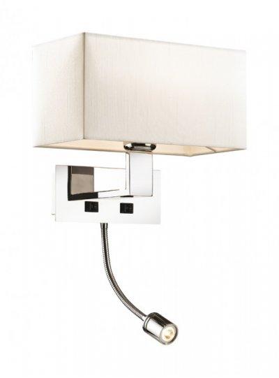 Светильник Odeon light 2421/1AБра хай тек стиля<br><br><br>S освещ. до, м2: 4<br>Крепление: настенное<br>Тип лампы: накаливания / энергосбережения / LED-светодиодная<br>Тип цоколя: E27<br>Цвет арматуры: серебристый<br>Количество ламп: 1<br>Ширина, мм: 270<br>Высота, мм: 243<br>Оттенок (цвет): кремовый<br>MAX мощность ламп, Вт: 60
