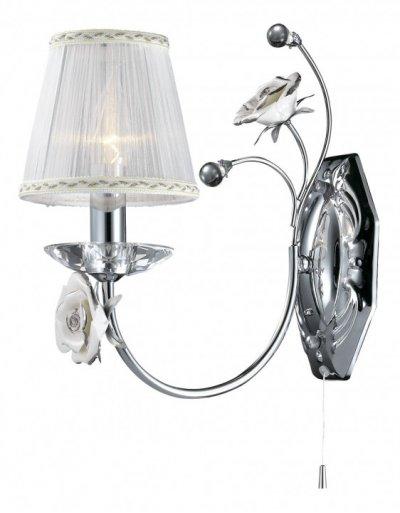 Настенный светильник odeon light 2683/1W MARIKAФлористика<br><br><br>S освещ. до, м2: 4<br>Тип лампы: накаливания / энергосбережения / LED-светодиодная<br>Тип цоколя: E14<br>Цвет арматуры: серебристый<br>Количество ламп: 1<br>Ширина, мм: 140<br>Расстояние от стены, мм: 290<br>Высота, мм: 310<br>MAX мощность ламп, Вт: 60