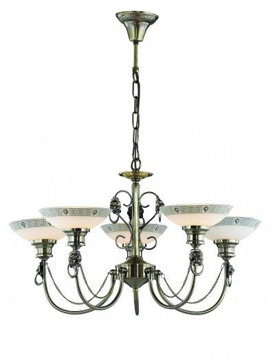 Люстра Odeon light 3213/5 RENEПодвесные<br>Отличный вариант домашнего освещения Odeon light Люстра 3213/5 серии RENE оформлена в классическом стиле. Люстра состоит из стеклянных плафонов  и оригинальной бронзовой арматуры, украшенной металлическими элементами в виде фигурок льва. Данная модель обладает элегантной монументальностью, гармонично сочетающейся со строгой классикой. Цоколь E14. Мощность 5*60W. Нет ламп в комплекте.<br><br>Установка на натяжной потолок: Да<br>S освещ. до, м2: 15<br>Тип цоколя: E14<br>Количество ламп: 5<br>Ширина, мм: 660<br>MAX мощность ламп, Вт: 60<br>Длина, мм: 660<br>Высота, мм: 380<br>Цвет арматуры: бронзовый