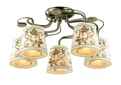 Люстра потолочная Odeon light 3216/5C ZARITTAПотолочные<br>Отличный вариант домашнего освещения Odeon light Люстра потолочная 3216/5C серии ZARITTA оформлена в классическом стиле. Люстра состоит из арматуры классического бронзового цвета, украшенной декоративными полирезиновыми элементами и тканевых абажуров светлого оттенка цветочным узором цвета кофе. Данная модель смотрится стильно и современно, сохраняя при этом классические формы и цвета.  Цоколь E14. Мощность 5*40W. Нет ламп в комплекте.<br><br>Установка на натяжной потолок: Да<br>S освещ. до, м2: 10<br>Тип цоколя: E14<br>Количество ламп: 5<br>Ширина, мм: 580<br>MAX мощность ламп, Вт: 40<br>Длина, мм: 580<br>Высота, мм: 260<br>Цвет арматуры: бронзовый