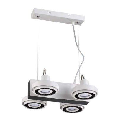 Подвесной светильник Odeon light 3490/4 SATELIUMОжидается<br><br><br>Тип цоколя: GU10<br>Количество ламп: 4<br>Ширина, мм: 256<br>Длина, мм: 292<br>Высота, мм: 1200<br>Оттенок (цвет): белый с черным<br>MAX мощность ламп, Вт: 50
