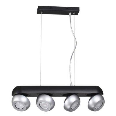 Подвесной светильник Odeon light 3492/4 NERARGOОжидается<br><br><br>Тип цоколя: GU10<br>Количество ламп: 4<br>Ширина, мм: 1457<br>Длина, мм: 110<br>Высота, мм: 1135<br>Оттенок (цвет): черный с серебристым<br>MAX мощность ламп, Вт: 50
