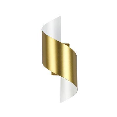 Настенный светильник Odeon light 3544/5LW BOCCOLOсовременные бра модерн<br><br><br>Цветовая t, К: 3000K<br>Тип лампы: LED - светодиодная<br>Тип цоколя: LED, встроенные светодиоды<br>Цвет арматуры: золотой<br>Количество ламп: 1<br>Ширина, мм: 126<br>Длина, мм: 145<br>Высота, мм: 300<br>Поверхность арматуры: блестящая<br>Оттенок (цвет): золотистый<br>MAX мощность ламп, Вт: 5