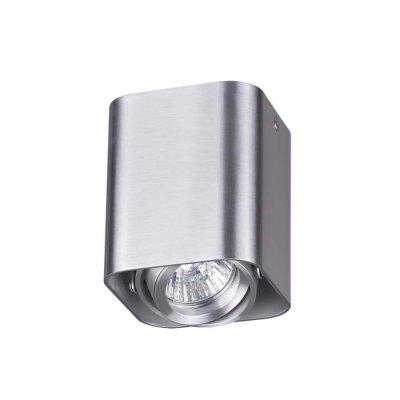 Потолочный накладной светильник Odeon light 3577/1C MONTALAНакладные точечные<br><br><br>Тип лампы: галогенная/LED<br>Тип цоколя: GU10<br>Количество ламп: 1<br>Ширина, мм: 90<br>Длина, мм: 90<br>Высота, мм: 105<br>Оттенок (цвет): матовый алюминий<br>MAX мощность ламп, Вт: 50