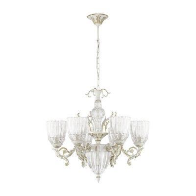 Люстра Odeon light 3942/6 CAPRIОжидается<br>Эффектная люстра 3942/6 серии Capri в греческом стиле - это классика, не теряющая актуальности. Арматура светильника, а также массивные фигурные рожки окрашены в белый цвет и покрыты золотой патиной. Люстру украшают крупный декор в виде листьев, стилизованных под античность. Плафоны, выполненные из дорогого рифленого стекла, напоминают о древних чашах для вина. Бело-золотистая гамма цветов в сочетании с прозрачным стеклом смотрится легко, гармонично, и способна украсить своим видом любое помещение. Цоколь E14. Мощность 6*40W. Нет ламп в комплекте.<br><br>Тип цоколя: E14<br>Количество ламп: 6<br>Ширина, мм: 610<br>Высота полная, мм: 1440<br>Длина, мм: 610<br>Высота, мм: 570<br>Оттенок (цвет): белый/золотая патина/прозрачный<br>MAX мощность ламп, Вт: 40