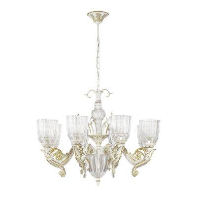 Люстра Odeon light 3942/8 CAPRIОжидается<br>Эффектная люстра 3942/8 серии Capri в греческом стиле - это классика, не теряющая актуальности. Арматура светильника, а также массивные фигурные рожки окрашены в белый цвет и покрыты золотой патиной. Люстру украшают крупный декор в виде листьев, стилизованных под античность. Плафоны, выполненные из дорогого рифленого стекла, напоминают о древних чашах для вина. Бело-золотистая гамма цветов в сочетании с прозрачным стеклом смотрится легко, гармонично, и способна украсить своим видом любое помещение. Цоколь E14. Мощность 8*40W. Нет ламп в комплекте.<br><br>Тип цоколя: E14<br>Количество ламп: 8<br>Ширина, мм: 730<br>Высота полная, мм: 1440<br>Длина, мм: 730<br>Высота, мм: 570<br>Оттенок (цвет): белый/золотая патина/прозрачный<br>MAX мощность ламп, Вт: 40
