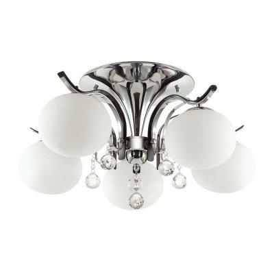 Люстра потолочная Odeon light 3954/5C ADDAОжидается<br>Люстру 3954/5C серии Adda украшают массивные белые матовые плафоны, висящие на эффектных черных рожк<br><br>Тип цоколя: E14<br>Количество ламп: 5<br>Ширина, мм: 650<br>Длина, мм: 650<br>Высота, мм: 350<br>Оттенок (цвет): хром/белый/черный/хрусталь<br>MAX мощность ламп, Вт: 40