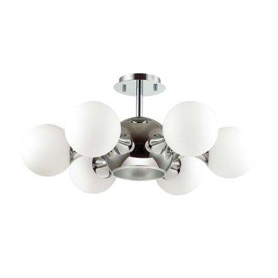 Люстра потолочная Odeon light 3972/7C MIOLLAОжидается<br>Люстра 3972/7C серии Molla состоит из хромированной металлической арматуры и белых плафонов из стекл<br><br>Тип цоколя: E27, E14<br>Количество ламп: 5<br>Ширина, мм: 675<br>Длина, мм: 675<br>Высота, мм: 280<br>Оттенок (цвет): хром/белый<br>MAX мощность ламп, Вт: 60