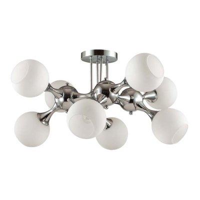 Люстра потолочная Odeon light 3972/8C MIOLLAОжидается<br>Люстра 3972/8C серии Molla состоит из хромированной металлической арматуры и белыми плафонами из сте<br><br>Тип цоколя: E27<br>Количество ламп: 8<br>Ширина, мм: 720<br>Длина, мм: 720<br>Высота, мм: 380<br>Оттенок (цвет): хром/белый<br>MAX мощность ламп, Вт: 60