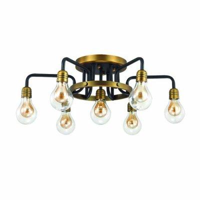 Люстра потолочная Odeon light 3983/7C ALONZOОжидается<br>Индустриальная люстра 3983/7C серии Alonzo для лофт интерьеров выполнена в виде водопроводных труб, к концам которых прикреплены стеклянные плафоны в виде винтажных ламп. Стильные прозрачные плафоны выгодно подчеркивают яркие, контрастные цвета арматуры: черный и бронзовый. Необычный дизайн безусловно станет обьектом пристального внимания и восхищения. Цоколь G9. Мощность 7*40W. Лампы в комплекте.<br><br>Тип цоколя: G9<br>Количество ламп: 7<br>Ширина, мм: 640<br>Длина, мм: 640<br>Высота, мм: 250<br>Оттенок (цвет): матовый черный/бронзовое/стекло<br>MAX мощность ламп, Вт: 40