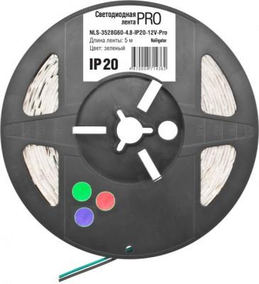 СД Лента Navigator 71 447 NLS-5050RGB60-14.4-IP65-12V-Pro R5Лента RGB<br>Светодиодная лента (NLS-PRO) — универсальный источник света, позволяющий создавать профессиональные световые решения при интерьерном и наружном применении.  Лента легко крепится к различным поверхностям, а благодаря гибкости и отсутствию нагрева во время работы ей можно декорировать разнообразные конструкции и предметы, при этом светодиодную ленту можно резать на участки необходимой длины.<br><br>Цветовая t, К: RGB - многоцветный<br>Тип лампы: LED - светодиодная<br>Количество ламп: 60LED шт/м<br>MAX мощность ламп, Вт: 14,4