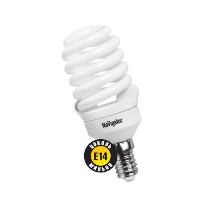 Лампа энергосберегающая Navigator 94 299 NCL-SF10-20-860-E14Спиральные<br>Navigator NCL-SF10 – компактная люминесцентная энергосберегающая лампа. Колба лампы представляет собой полную спираль, изготовленную из люминесцентной трубки диаметром 7 мм (T2). При изготовлении трубки используется высококачественный трехполосный люминофор, что обеспечивает превосходное качество света и высокую светоотдачу ламп. Лампа NCL-SF10 мощностью 9, 11 и 15 Вт поставляется в трех цветовых температурах: 2700 К, 4000 К и 6500 К, а лампа NCL-SF10 мощностью 7 Вт только в двух: 2700 К и 4000 К. Лампы NCL-SF10 7 Вт и 9 Вт предлагаются с цоколем Е14, NCL-SF10 11 и 15 Вт с двумя типоразмерами цоколя: Е14 и Е27. Лампы Navigator NCL-SF10 не предназначены для использования с регуляторами светового потока (диммерами).  Лампа NCL-SF10 мощностью 20 Вт поставляется в трех цветовых температурах: 2700 К, 4000 К и 6500 К с двумя типоразмерами цоколя: Е14 и Е27. Лампы Navigator NCL-SF10 не предназначены для использования с регуляторами светового потока (диммерами).  Срок службы ламп NCL-SF10 составляет 10000 часов. Люминесцентные трубки ламп Navigator NCL-SF10-15 изготовлены с использованием «амальгамной технологии».<br><br>Цветовая t, К: CW - дневной белый 6000 К<br>Тип лампы: Энергосберегающая<br>Тип цоколя: E14<br>Диаметр, мм мм: 50<br>Высота, мм: 115<br>MAX мощность ламп, Вт: 20