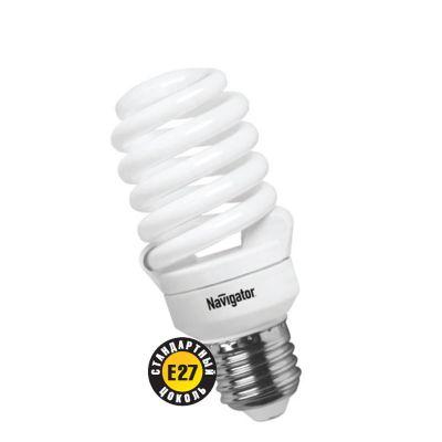 Лампа энергосберегающая Navigator 94 296 NCL-SF10-20-860-E27Спиральные<br>Navigator NCL-SF10 – компактная люминесцентная энергосберегающая лампа. Колба лампы представляет собой полную спираль, изготовленную из люминесцентной трубки диаметром 7 мм (T2). При изготовлении трубки используется высококачественный трехполосный люминофор, что обеспечивает превосходное качество света и высокую светоотдачу ламп. Лампа NCL-SF10 мощностью 9, 11 и 15 Вт поставляется в трех цветовых температурах: 2700 К, 4000 К и 6500 К, а лампа NCL-SF10 мощностью 7 Вт только в двух: 2700 К и 4000 К. Лампы NCL-SF10 7 Вт и 9 Вт предлагаются с цоколем Е14, NCL-SF10 11 и 15 Вт с двумя типоразмерами цоколя: Е14 и Е27. Лампы Navigator NCL-SF10 не предназначены для использования с регуляторами светового потока (диммерами).  Лампа NCL-SF10 мощностью 20 Вт поставляется в трех цветовых температурах: 2700 К, 4000 К и 6500 К с двумя типоразмерами цоколя: Е14 и Е27. Лампы Navigator NCL-SF10 не предназначены для использования с регуляторами светового потока (диммерами).  Срок службы ламп NCL-SF10 составляет 10000 часов. Люминесцентные трубки ламп Navigator NCL-SF10-15 изготовлены с использованием «амальгамной технологии».<br><br>Цветовая t, К: CW - дневной белый 6000 К<br>Тип лампы: Энергосберегающая<br>Тип цоколя: E27<br>MAX мощность ламп, Вт: 20<br>Диаметр, мм мм: 50<br>Высота, мм: 112