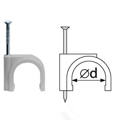 Скобы Navigator 71 078 NCR-25-50Скобы для кабеля<br>Круглые пластиковые скобы Navigator серии NCR предназначены для быстрого и надежного крепления круглых кабелей.<br>  В индивидуальной упаковке 50 шт. Вид упаковки - пакет с наклейкой.<br><br>Тип товара: Скобы<br>Диаметр, мм мм: 25